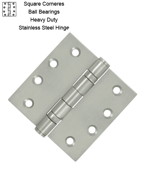 4 X 4 X Square Corners Heavy Duty Stainless Steel Hinge 2