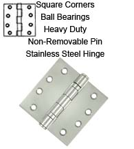 4 x 4 x Square Corners Stainless Steel Hinge, NRP, 2 Ball Bearings, Pair, Deltana SS44NBU