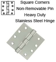 4 x 4 Stainless Steel Hinge with Non-Removable Pin, Pair, Deltana SS44NU32D