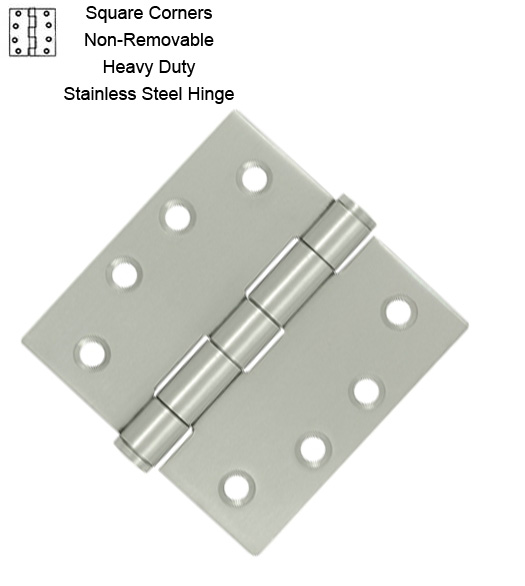 4 X 4 Stainless Steel Hinge With Non Removable Pin Pair