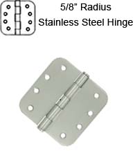 4 x 4 x 5/8 Radius Residential Stainless Steel Hinge, Pair, Deltana SS44R5U32D-R