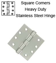 4 x 4 x Square Corners Heavy Duty Stainless Steel Hinge, Pair, Deltana SS44U