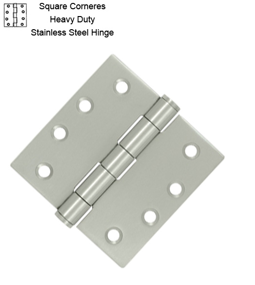 4 X 4 X Square Corners Heavy Duty Stainless Steel Hinge