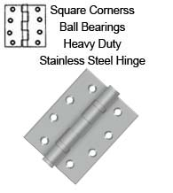 4 x 3 Stainless Steel Hinge with Ball Bearings, Pair, Deltana SS4030BU32D