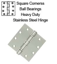 4-1/2 x 4-1/2 x Square Corners Stainless Steel Hinge 2 Ball Bearings, Pair, Deltana SS45BU32D