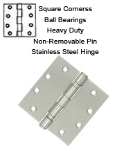 4-1/2 x 4-1/2 x Square Corners Stainless Steel Hinge, NRP, 2 Ball Bearings, Pair, Deltana SS45NBU