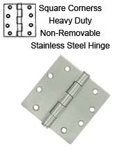 4-1/2 x 4-1/2 x Square Corners Stainless Steel Hinge with Non-Removable Pin, Pair, Deltana SS45NU32D