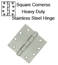 4-1/2 x 4-1/2 x Square Corners Heavy Duty Stainless Steel Hinge, Pair, Deltana SS45U32D