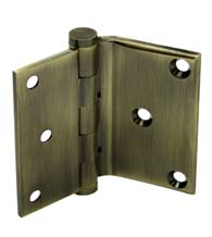 3 x 3-1/2 x Square Corners Solid Brass Half Surface Hinge, Pair, Deltana DHS3035