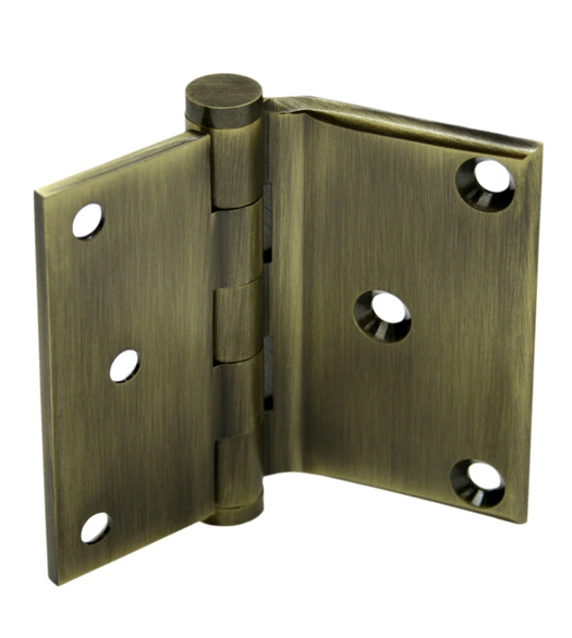 3 X 3 1/2 X Square Corners Solid Brass Half Surface Hinge Pair