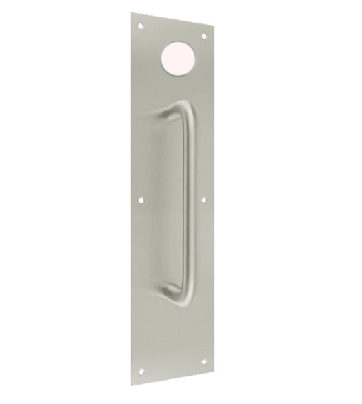 3-1/2 x 15 Pull Plate with Deadbolt Hole