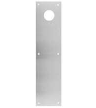 3-1/2 x 15 Brushed Stainless Steel Push Plate with Lock Cylinder Cut-out