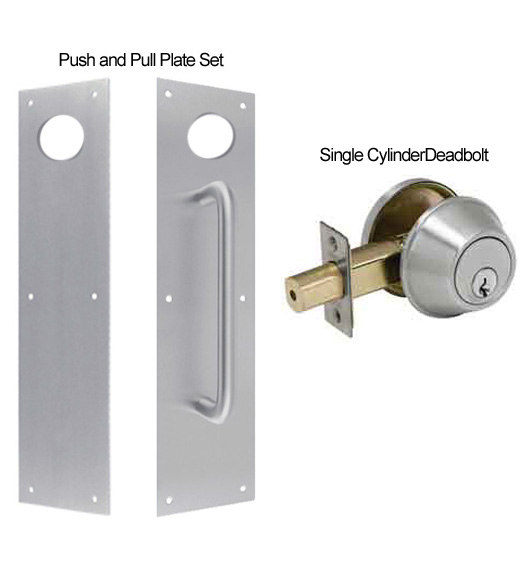Door Push and Pull Plate Set with Single Cylinder Deadbolt ...