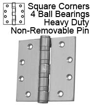 4-1/2 x 4-1/2 Extra Heavy Duty Non-Removable Pin Stainless Steel Hinge