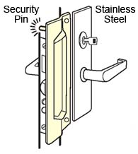 Outswing Door Stainless Security Pin Mortise Latch Guard, Don-Jo PMLP-111-630