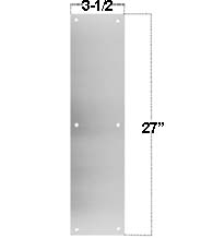 3.5 x 27 Satin Stainless Steel Push Plate, Don-Jo PP-3.5x27-630
