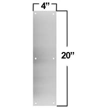 Brushed Stainless Steel 4 x 20 Push Plate, Don-Jo PP-4x20-630