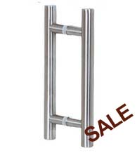 16 Inch Contemporary Stainless Steel Glass Door Pulls, Pair