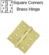 4 x 4 x Square Corners Residential Solid Brass Hinge, ZigZag Holes, Pair, DSB4x-RZ