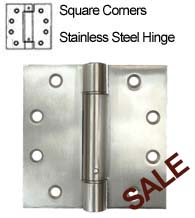4.5 x 4.5 Stainless Steel Spring Hinge, Pair