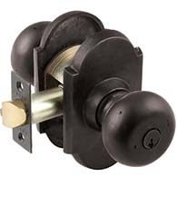 Keyed Entry Winchester Sandcast Bronze Knob with Arched Rose, Emtek 5104WC