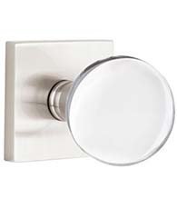 Bristol Clear Crystal Knob with Square Rose, Emtek 5050BL