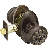 Cast Bronze Petal Keyed Entry Knob with Oval Rose, Emtek 54014PT