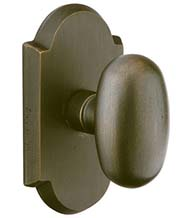 Egg Knob with Arched Rosette, Emtek 7058BZEG