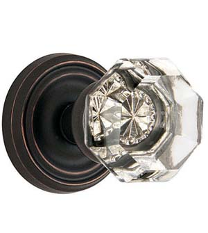 Old Town Clear Crystal Knob with Regular Rosette, Emtek 8050OT