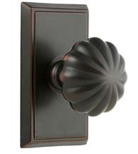 Melon Knob with Rectangular Rose, Emtek 8521MN