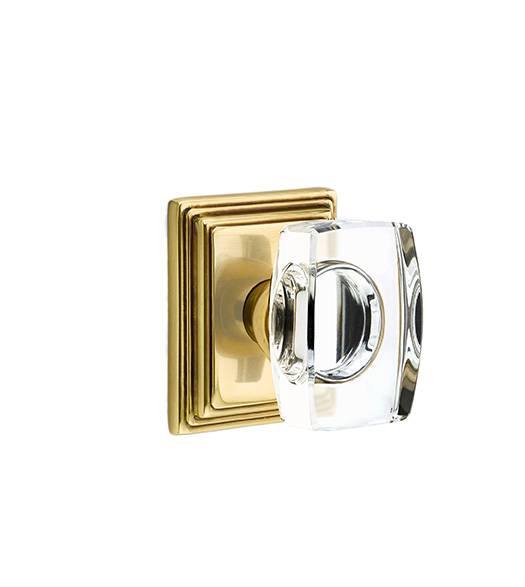 Clear Crystal Windsor Knob with Wilshire Rose