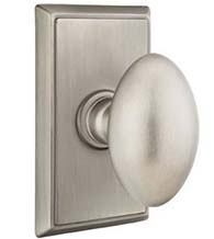 Classic Brass Egg Knob with Rectangular Rosette, Emtek 8521E