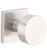 Brushed Stainless Steel Round Knob with Square Rose, Emtek S30003RNK