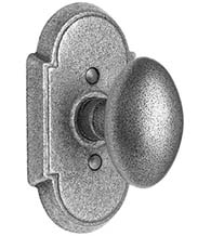 Wrought Steel Egg Knob with Arched Rose, Emtek 7051SV