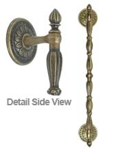 Decorative 17 Inch Ornate Door Pull with Rosettes, FII-1229/1/17