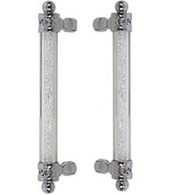 12 Inch Decorative Swarovski Crystal Glass Door Pulls, Pair, First Impressions SD-ATL02012