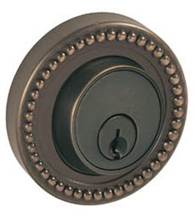 Round Beaded Rose Deadbolt, Fusion B6