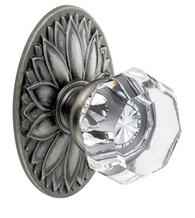 Clear Victorian Glass Knob With Oval Floral Rose, 16-D9
