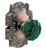 Green Scalloped Glass Knob With Victorian Rose, Fusion 20-C8