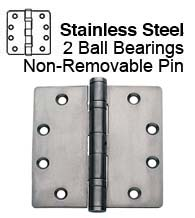 4-1/2 x 4 Commercial Stainless Steel Hinge, 2 Ball Bearings and Non-Removable Pin