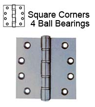 4-1/2 x 4-1/2 Extra Heavy Duty Stainless Steel Hinge, 4 Ball Bearings