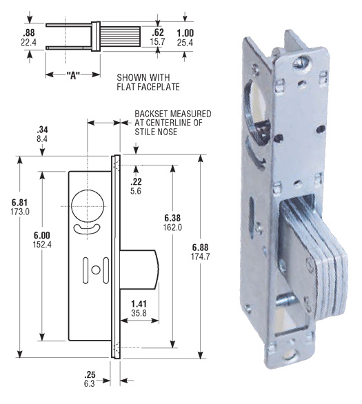 Storefront Door Mortise Lock Deadbolt Body Th1101