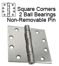 4-1/2 x 4-1/2 Commercial Door Hinge, 2 Ball Bearings and Non-Removable Pin