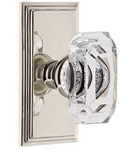 Emerald Cut Clear Crystal Knob with Carre Plate, Grandeur CARBCC