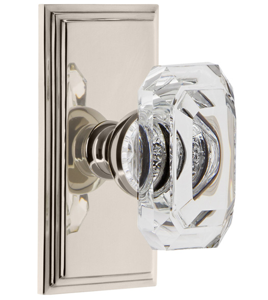 Baguette Clear Crystal Knob with Carre Rose
