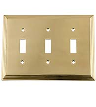 Deco Triple Light Switch Plate, Grandeur DECSWPLTT3