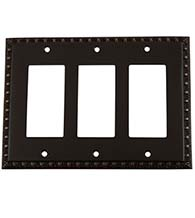 Triple Egg and Dart Rocker Switch Plate, Grandeur EADSWPLTR3