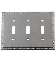 Triple Egg and Dart Toggle Switch Plate, Grandeur EADSWPLTT3