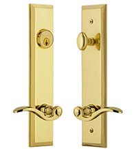 Bellagio Keyed Entry Lever with Fifth Avenue Tall Plate, Grandeur FAVBEL19ENTR