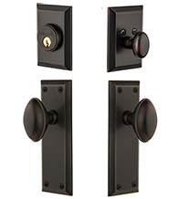 Fifth Avenue Single Cylinder Entry Set Combo With Eden Prairie Knob, Grandeur FAVEDNCOM
